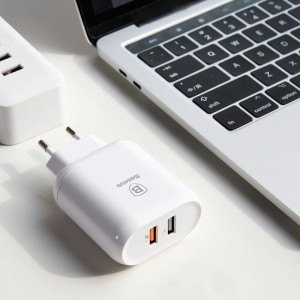 Сетевой блок питания Baseus Bojure Series Dual-USB quick charge charger Белый